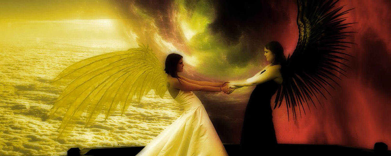 Immagine con un angelo bianco contrapposto ad un angelo nero con la domanda: Il bene e il male in noi. Chi vince? E perché vince?